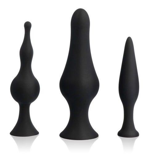 Kit entrenamiento anal 3 plugs negros
