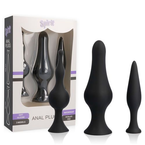 Kit entrenamiento anal 3 plugs negros 1