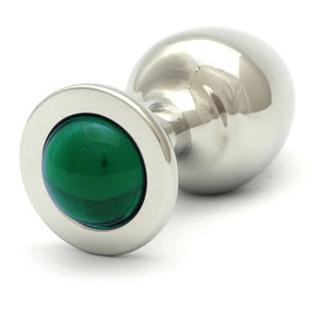 Plug anal de metal Rosebuds cristal verde