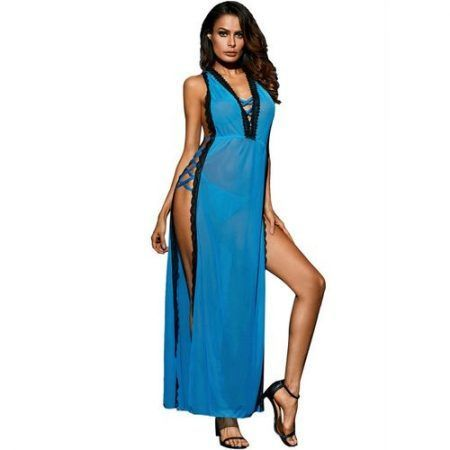 Vestido largo Queen Lingerie azul