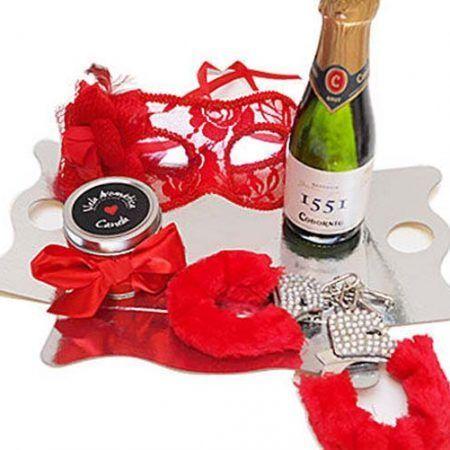 Kit erótico rojo con máscara Veneciana
