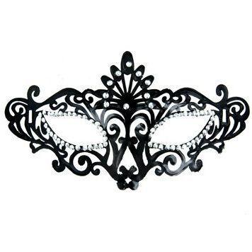 Máscara Veneciana acabado negro y brillantes