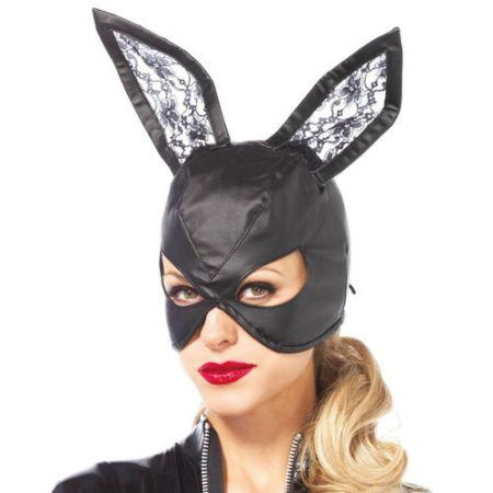 Máscara de cuero conejo negro
