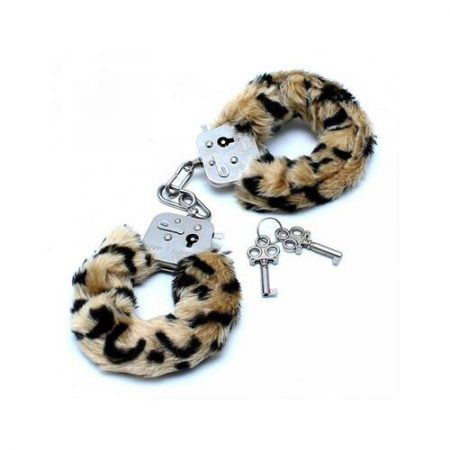 Esposas metálicas con pelo de leopardo