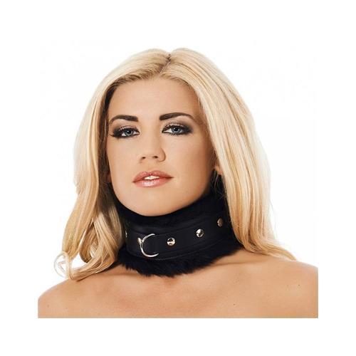 Collar ancho de cuero y pelo artificial