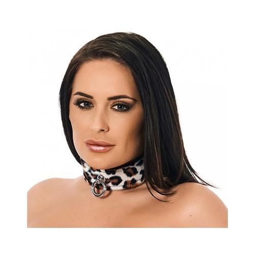 Collar de cuero leopardo ajustable