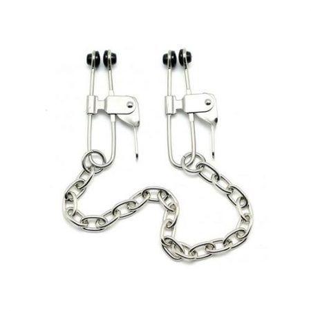 Pinzas con cadena de metal para pezones 2 Rimba