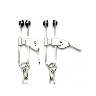 Pinzas con cadena de metal para pezones 2 Rimba 2