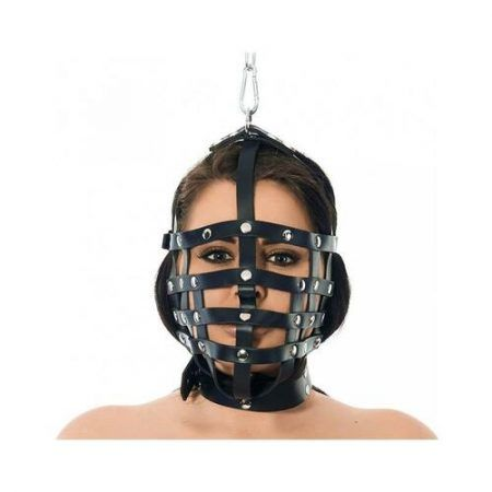 Máscara de cuero con forma de bozal ajustable