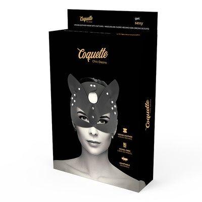 Mascara de cuero vegano con orejas de gato 4