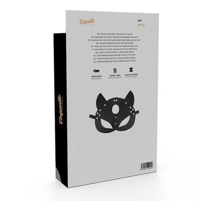 Mascara de cuero vegano con orejas de gato 5