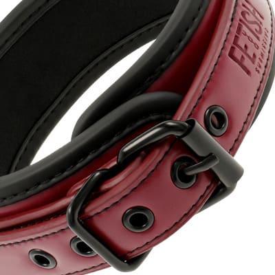 Collar con cadena cuero vegano rojo 3