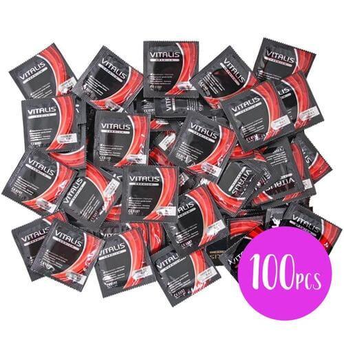 Bolsa con 100 preservativos sabor a fresa